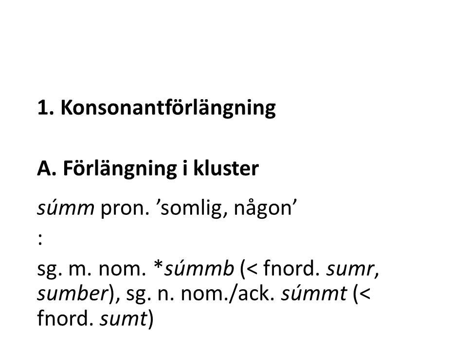 1. Konsonantförlängning A. Förlängning i kluster súmm pron.