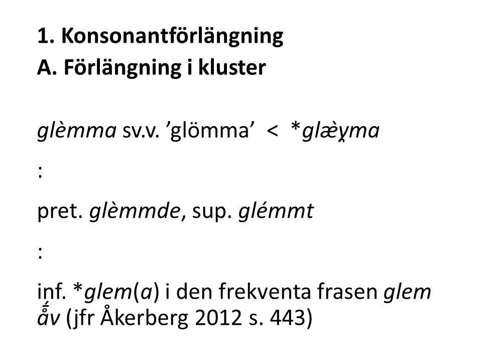 1. Konsonantförlängning A. Förlängning i kluster glèmma sv.v.