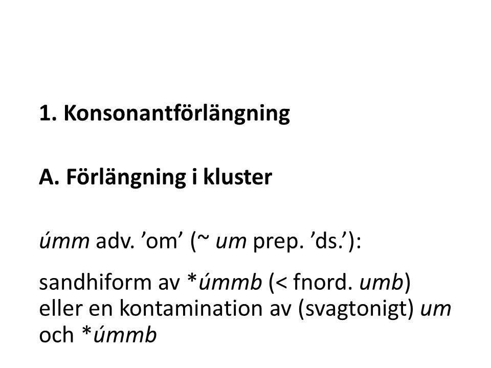 1. Konsonantförlängning A. Förlängning i kluster úmm adv.