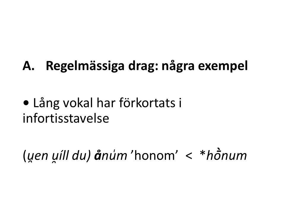 A.Regelmässiga drag: några exempel Lång vokal har förkortats i infortisstavelse (u̯en u̯íll du) ånu̍m 'honom' < *hṑnum