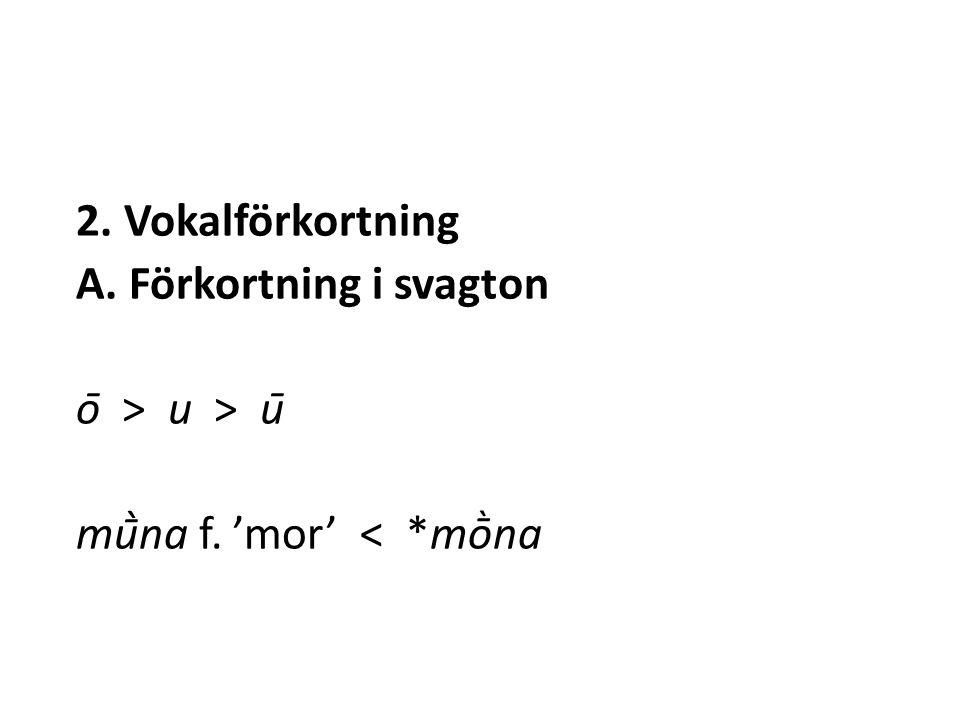 2. Vokalförkortning A. Förkortning i svagton ō > u > ū mū̀na f. 'mor' < *mṑna