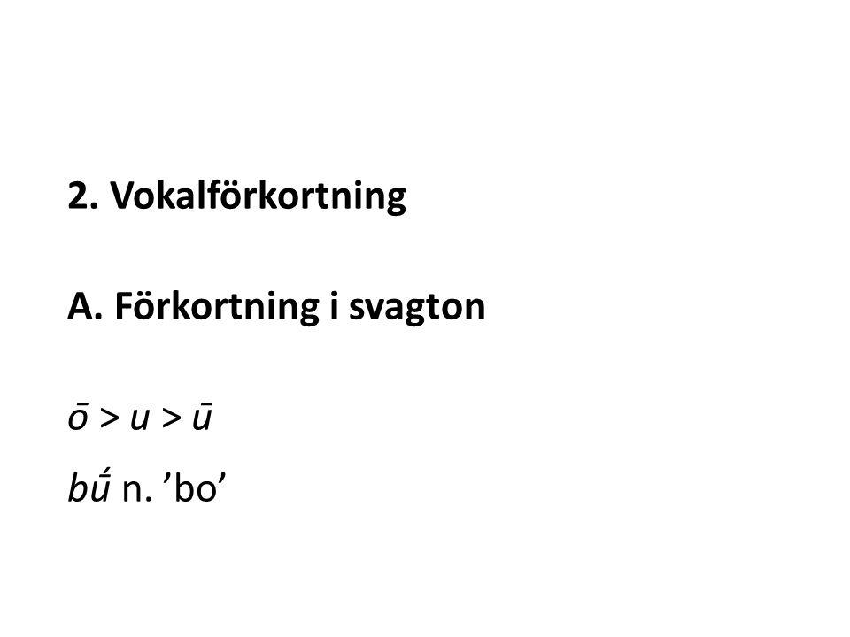 2. Vokalförkortning A. Förkortning i svagton ō > u > ū bū́ n. 'bo'