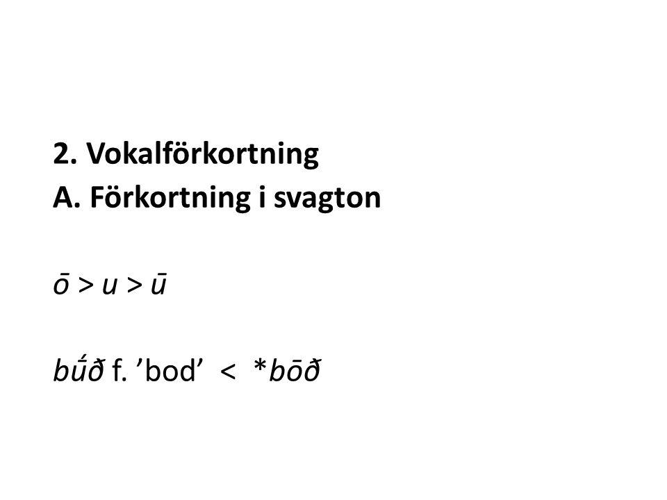 2. Vokalförkortning A. Förkortning i svagton ō > u > ū bū́ð f. 'bod' < *bōð