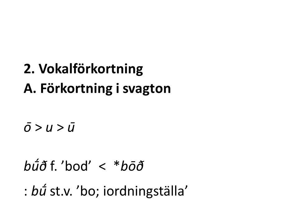 2. Vokalförkortning A. Förkortning i svagton ō > u > ū bū́ð f.