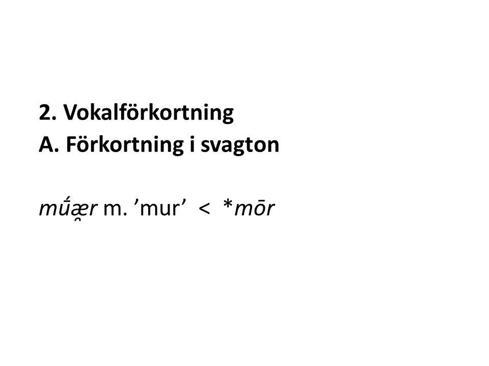 2. Vokalförkortning A. Förkortning i svagton mū́æ̯r m. 'mur' < *mōr