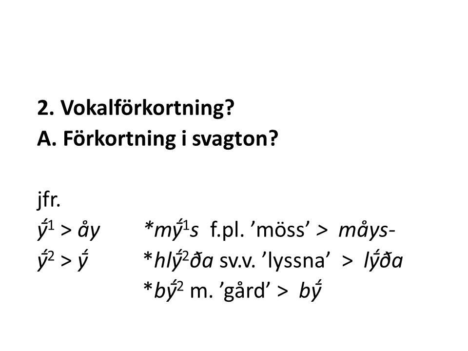 2. Vokalförkortning. A. Förkortning i svagton. jfr.