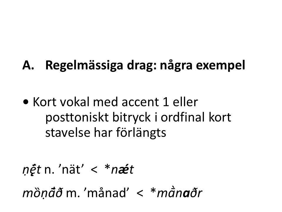 A.Regelmässiga drag: några exempel Kort konsonant utom halvvokal och dental, velar eller labial frikativa har förlängts när den har följt på (bi)betonad vokal och följts av en annan konsonant úæ̯tter, dat.