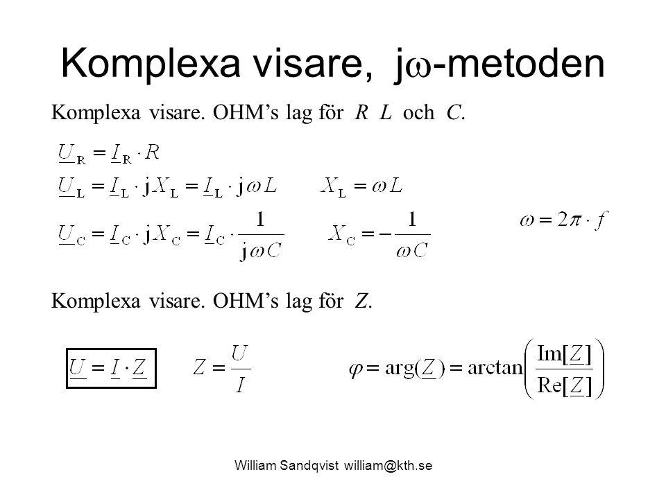 Komplexa visare, j  -metoden Komplexa visare. OHM's lag för R L och C. Komplexa visare. OHM's lag för Z.