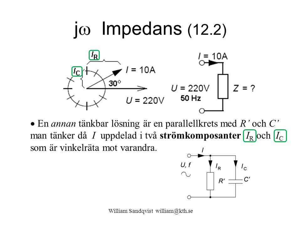 William Sandqvist william@kth.se j  Impedans (12.2)  En annan tänkbar lösning är en parallellkrets med R' och C' man tänker då I uppdelad i två strö