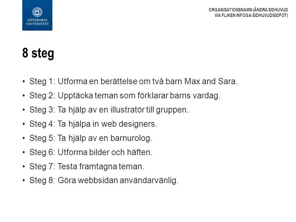 8 steg Steg 1: Utforma en berättelse om två barn Max and Sara. Steg 2: Upptäcka teman som förklarar barns vardag. Steg 3: Ta hjälp av en illustratör t