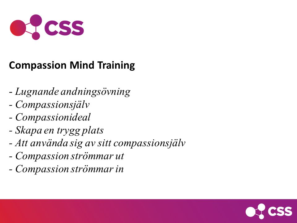 - Lugnande andningsövning - Compassionsjälv - Compassionideal - Skapa en trygg plats - Att använda sig av sitt compassionsjälv - Compassion strömmar ut - Compassion strömmar in Compassion Mind Training