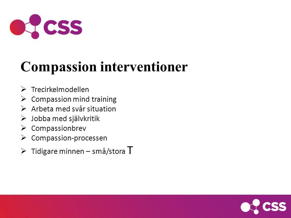 Compassion interventioner  Trecirkelmodellen  Compassion mind training  Arbeta med svår situation  Jobba med självkritik  Compassionbrev  Compassion-processen  Tidigare minnen – små/stora T