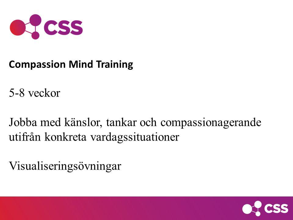 5-8 veckor Jobba med känslor, tankar och compassionagerande utifrån konkreta vardagssituationer Visualiseringsövningar Compassion Mind Training