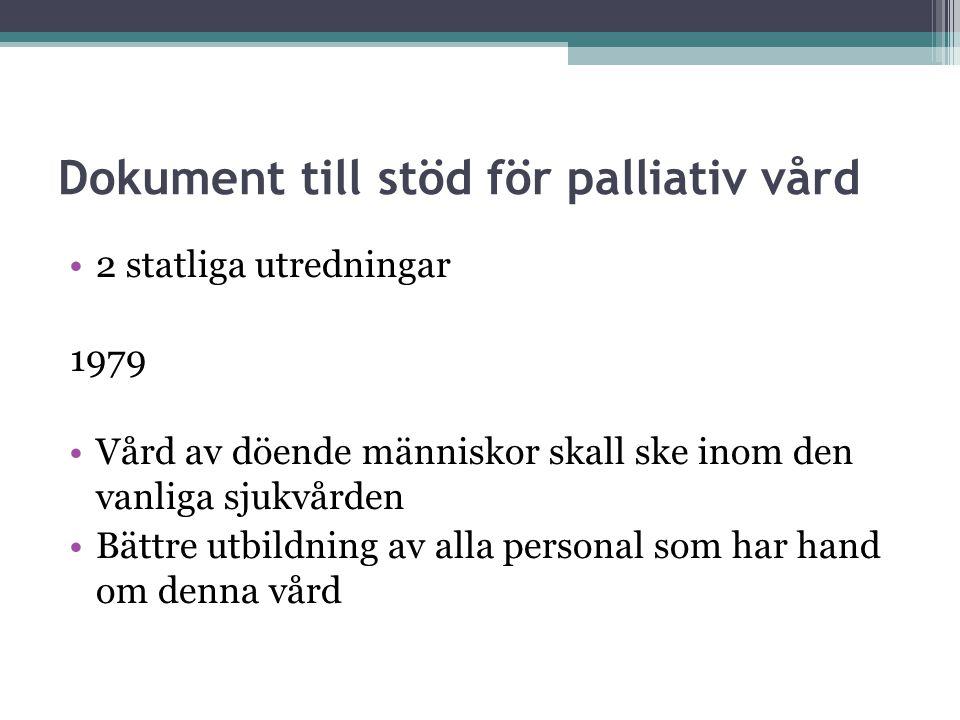 Dokument till stöd för palliativ vård 2 statliga utredningar 1979 Vård av döende människor skall ske inom den vanliga sjukvården Bättre utbildning av