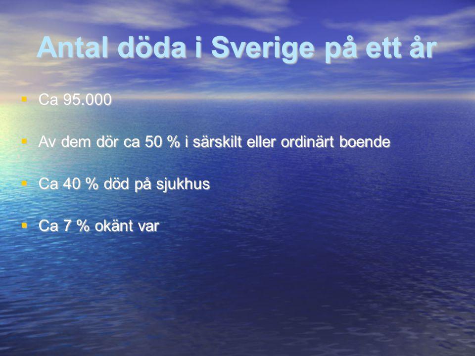 Antal döda i Sverige på ett år  Ca 95.000  Av dem dör ca 50 % i särskilt eller ordinärt boende  Ca 40 % död på sjukhus  Ca 7 % okänt var