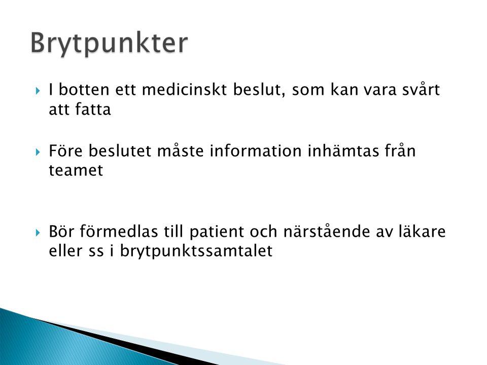  I botten ett medicinskt beslut, som kan vara svårt att fatta  Före beslutet måste information inhämtas från teamet  Bör förmedlas till patient och