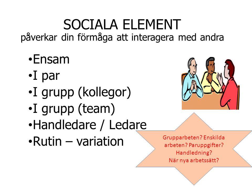 SOCIALA ELEMENT påverkar din förmåga att interagera med andra Ensam I par I grupp (kollegor) I grupp (team) Handledare / Ledare Rutin – variation Grup