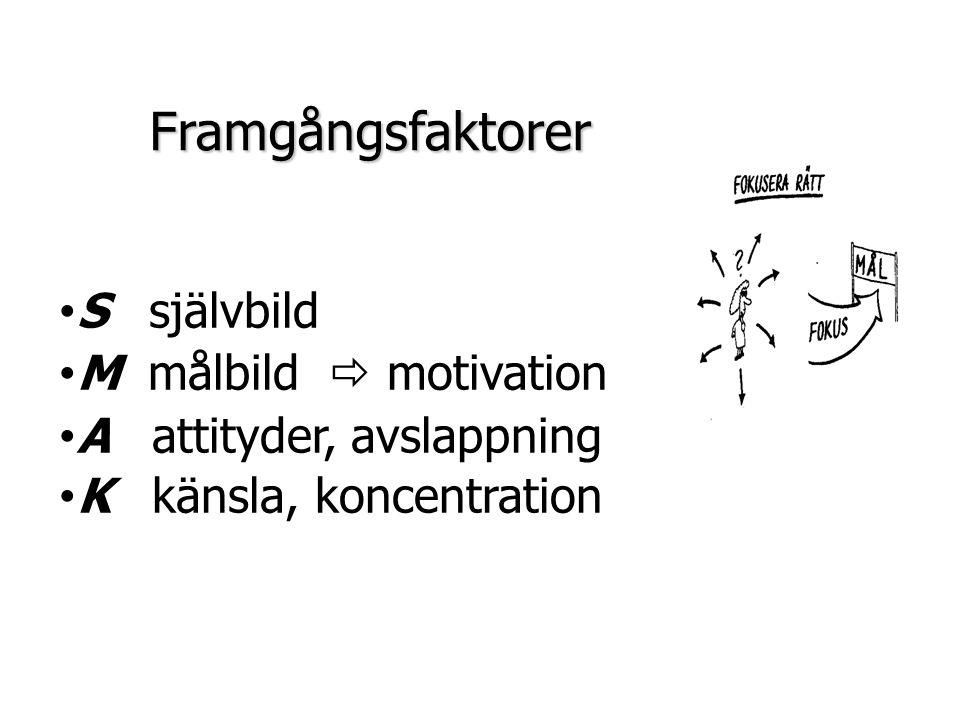 Framgångsfaktorer S självbild M målbild  motivation A attityder, avslappning K känsla, koncentration