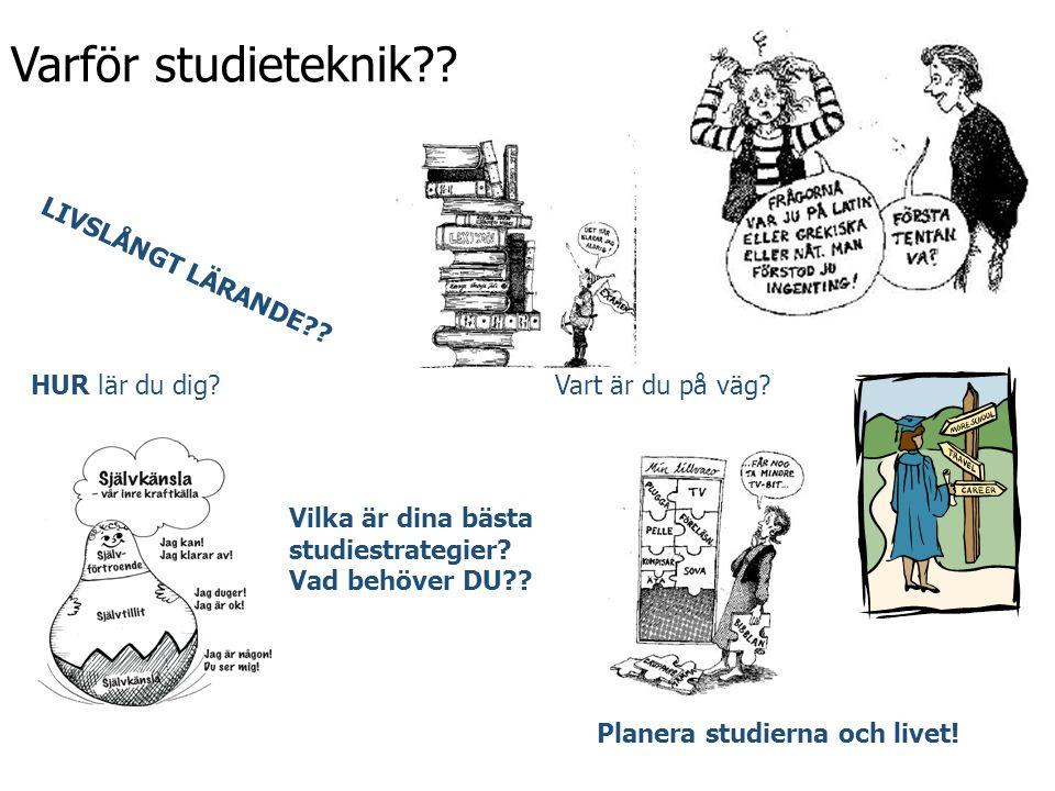 Varför studieteknik?? LIVSLÅNGT LÄRANDE?? Vart är du på väg?HUR lär du dig? Planera studierna och livet! Vilka är dina bästa studiestrategier? Vad beh