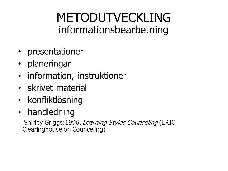 METODUTVECKLING informationsbearbetning presentationer planeringar information, instruktioner skrivet material konfliktlösning handledning Shirley Gri