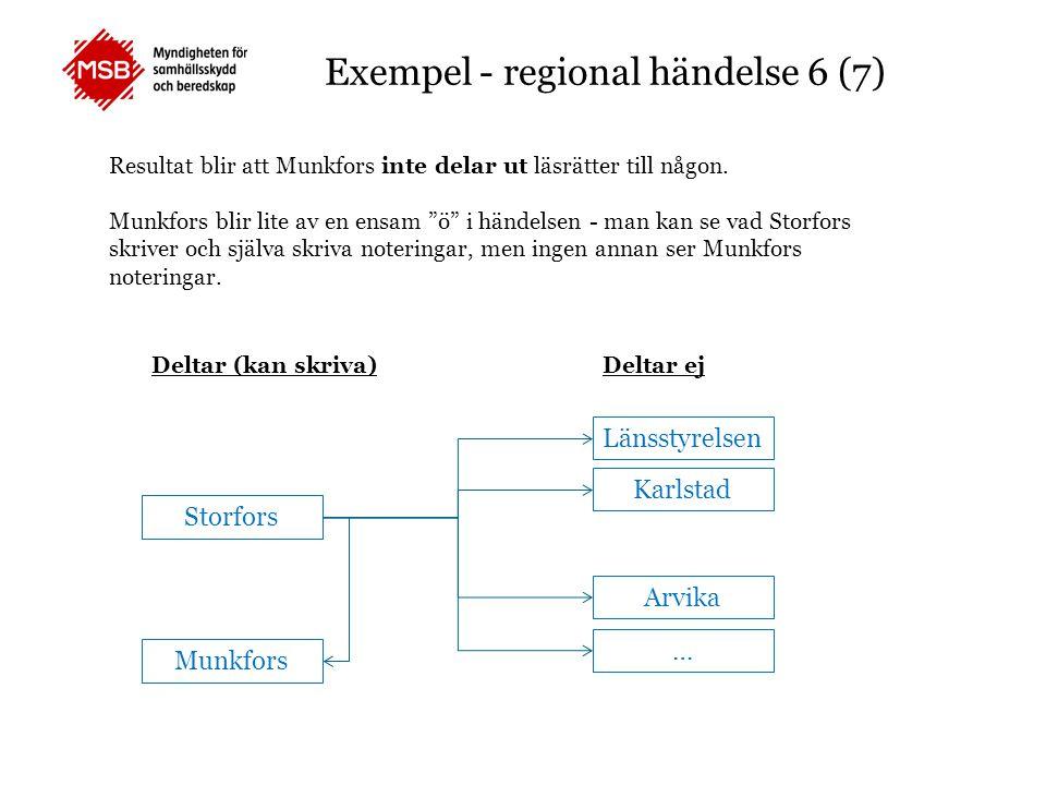 """Exempel - regional händelse 6 (7) Resultat blir att Munkfors inte delar ut läsrätter till någon. Munkfors blir lite av en ensam """"ö"""" i händelsen - man"""