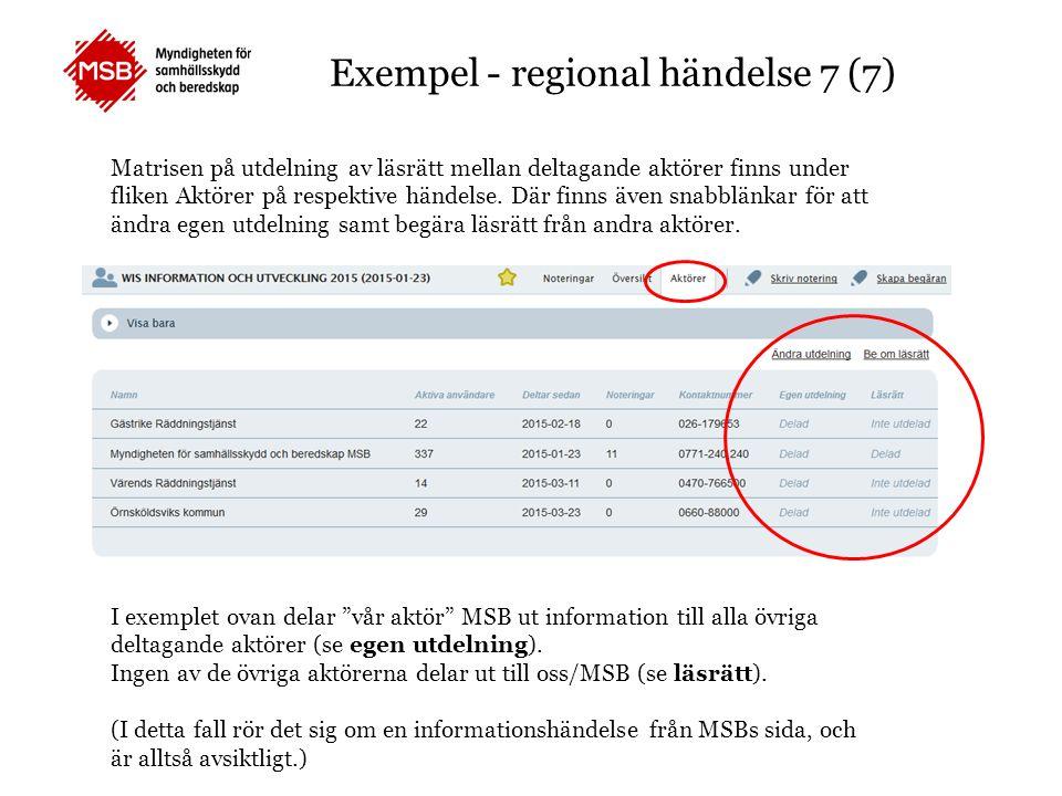 Exempel - regional händelse 7 (7) Matrisen på utdelning av läsrätt mellan deltagande aktörer finns under fliken Aktörer på respektive händelse. Där fi