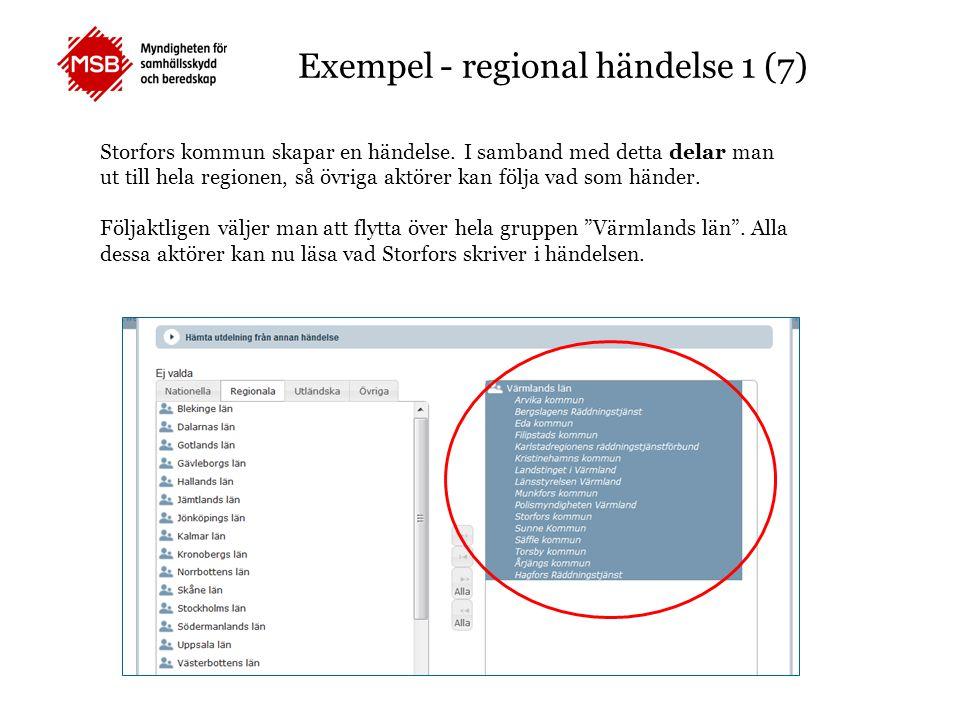 Exempel - regional händelse 1 (7) Storfors kommun skapar en händelse. I samband med detta delar man ut till hela regionen, så övriga aktörer kan följa