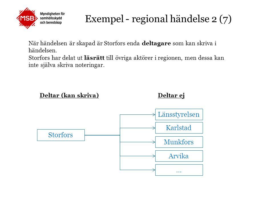 Exempel - regional händelse 2 (7) När händelsen är skapad är Storfors enda deltagare som kan skriva i händelsen. Storfors har delat ut läsrätt till öv
