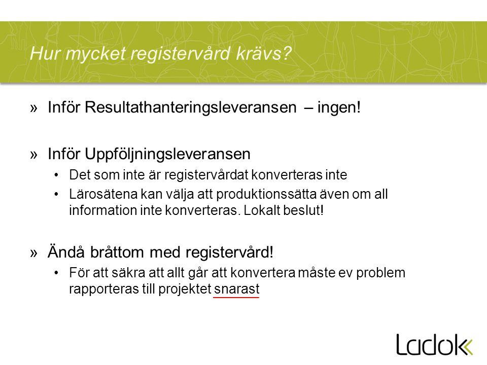 Hur mycket registervård krävs? »Inför Resultathanteringsleveransen – ingen! »Inför Uppföljningsleveransen Det som inte är registervårdat konverteras i