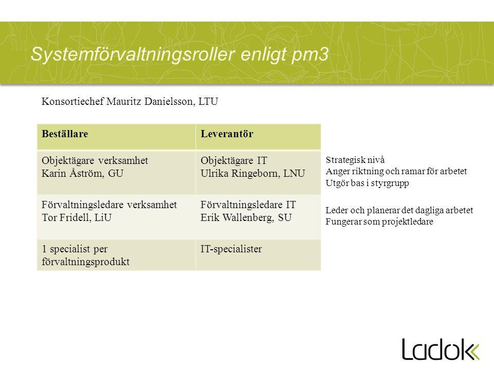 Systemförvaltningsroller enligt pm3 BeställareLeverantör Objektägare verksamhet Karin Åström, GU Objektägare IT Ulrika Ringeborn, LNU Förvaltningsleda