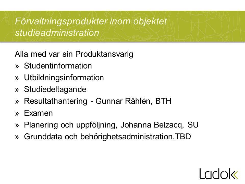 Förvaltningsprodukter inom objektet studieadministration Alla med var sin Produktansvarig »Studentinformation »Utbildningsinformation »Studiedeltagand