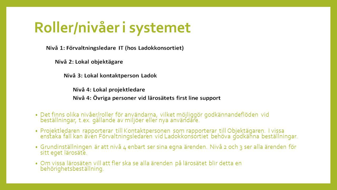 Roller/nivåer i systemet Det finns olika nivåer/roller för användarna, vilket möjliggör godkännandeflöden vid beställningar, t.ex.