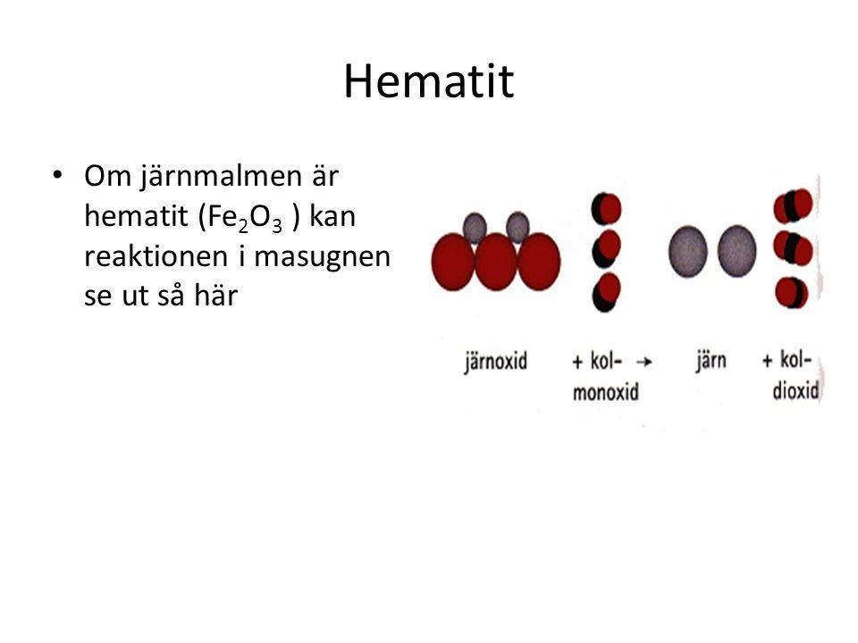 Hematit Om järnmalmen är hematit (Fe 2 O 3 ) kan reaktionen i masugnen se ut så här