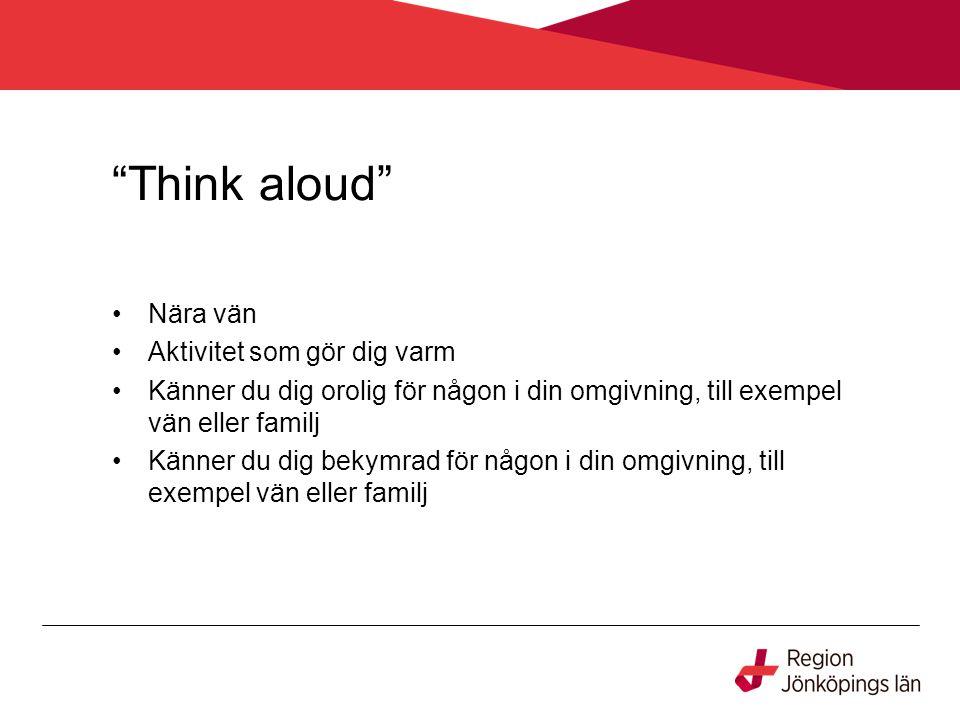 """""""Think aloud"""" Nära vän Aktivitet som gör dig varm Känner du dig orolig för någon i din omgivning, till exempel vän eller familj Känner du dig bekymrad"""