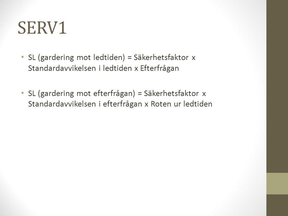 SERV1 SL (gardering mot ledtiden) = Säkerhetsfaktor x Standardavvikelsen i ledtiden x Efterfrågan SL (gardering mot efterfrågan) = Säkerhetsfaktor x S