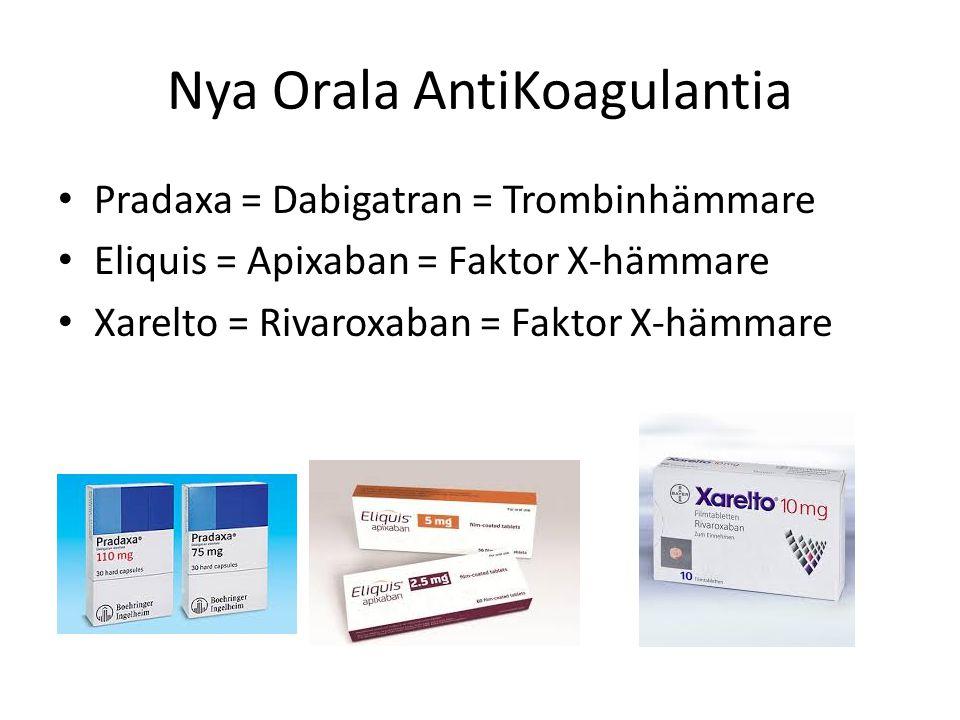 Nya Orala AntiKoagulantia Pradaxa = Dabigatran = Trombinhämmare Eliquis = Apixaban = Faktor X-hämmare Xarelto = Rivaroxaban = Faktor X-hämmare