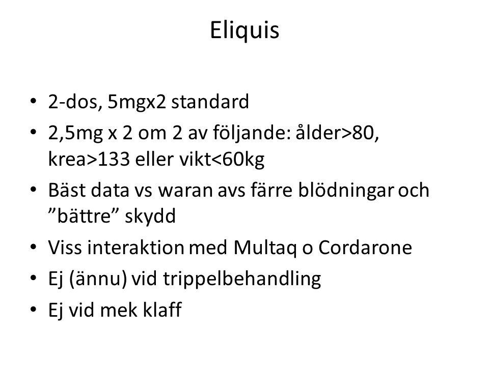Eliquis 2-dos, 5mgx2 standard 2,5mg x 2 om 2 av följande: ålder>80, krea>133 eller vikt<60kg Bäst data vs waran avs färre blödningar och bättre skydd Viss interaktion med Multaq o Cordarone Ej (ännu) vid trippelbehandling Ej vid mek klaff