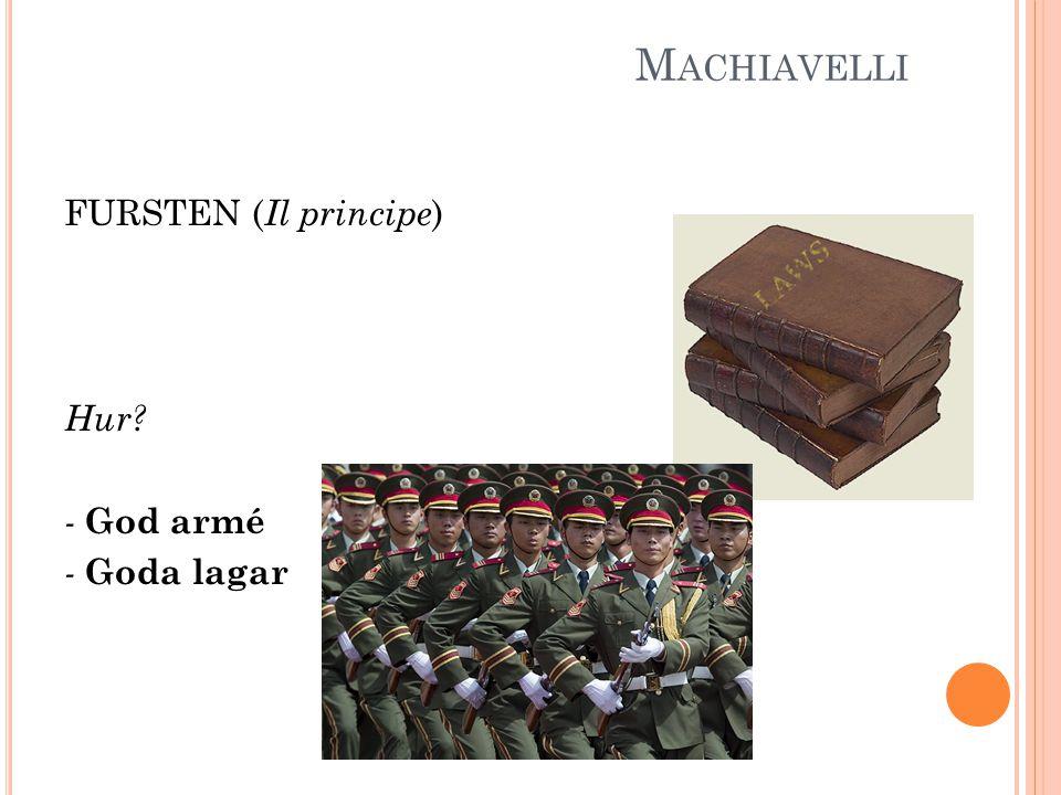 M ACHIAVELLI FURSTEN ( Il principe ) Hur? - God armé - Goda lagar