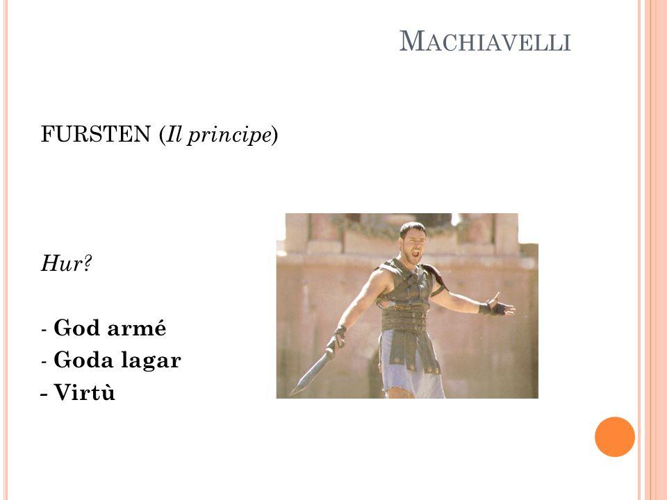 M ACHIAVELLI FURSTEN ( Il principe ) Hur - God armé - Goda lagar - Virtù