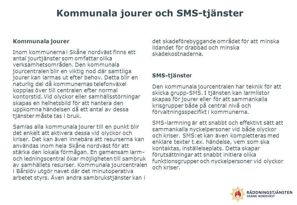 Kommunala jourer och SMS-tjänster Kommunala jourer Inom kommunerna i Skåne nordväst finns ett antal jourtjänster som omfattar olika verksamhetsområden
