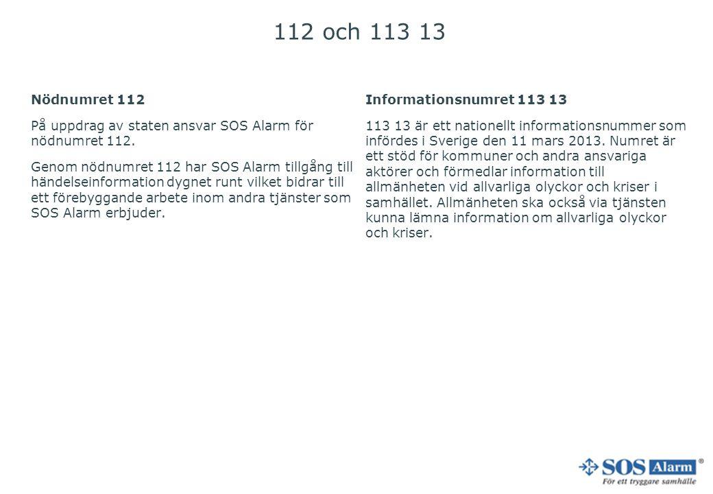 112 och 113 13 Nödnumret 112 På uppdrag av staten ansvar SOS Alarm för nödnumret 112. Genom nödnumret 112 har SOS Alarm tillgång till händelseinformat
