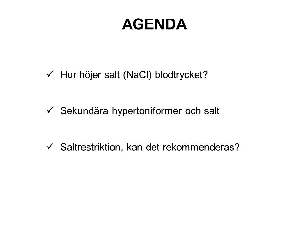 AGENDA Hur höjer salt (NaCl) blodtrycket? Sekundära hypertoniformer och salt Saltrestriktion, kan det rekommenderas?