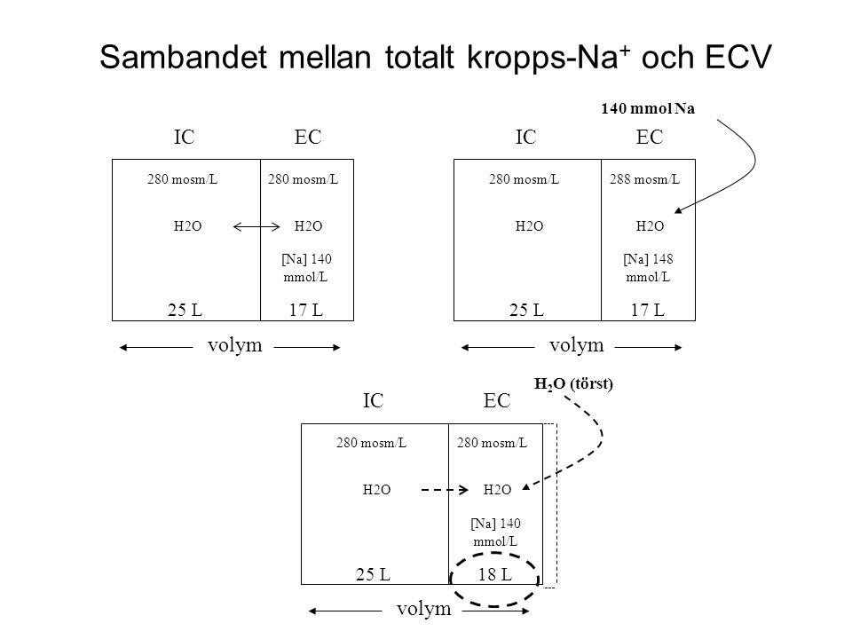 Sambandet mellan totalt kropps-Na + och ECV ICEC volym 25 L17 L 280 mosm/L H2O 280 mosm/L H2O [Na] 140 mmol/L 140 mmol Na ICEC volym 25 L17 L 280 mosm
