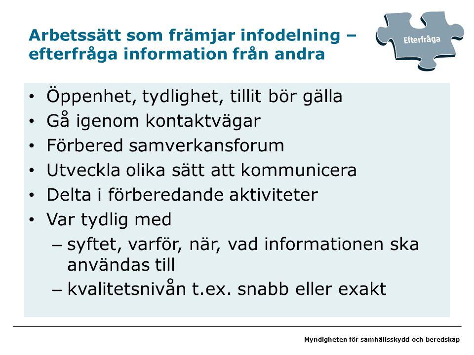 Myndigheten för samhällsskydd och beredskap Arbetssätt som främjar infodelning – efterfråga information från andra Öppenhet, tydlighet, tillit bör gäl