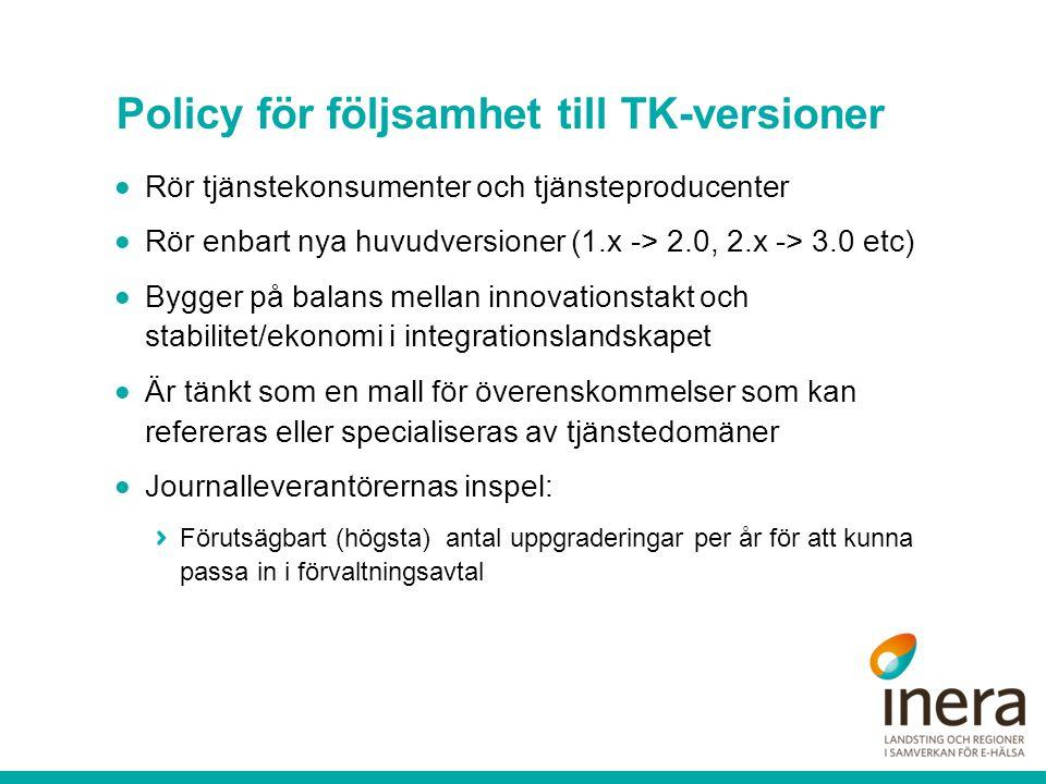 Policy för följsamhet till TK-versioner  Rör tjänstekonsumenter och tjänsteproducenter  Rör enbart nya huvudversioner (1.x -> 2.0, 2.x -> 3.0 etc) 