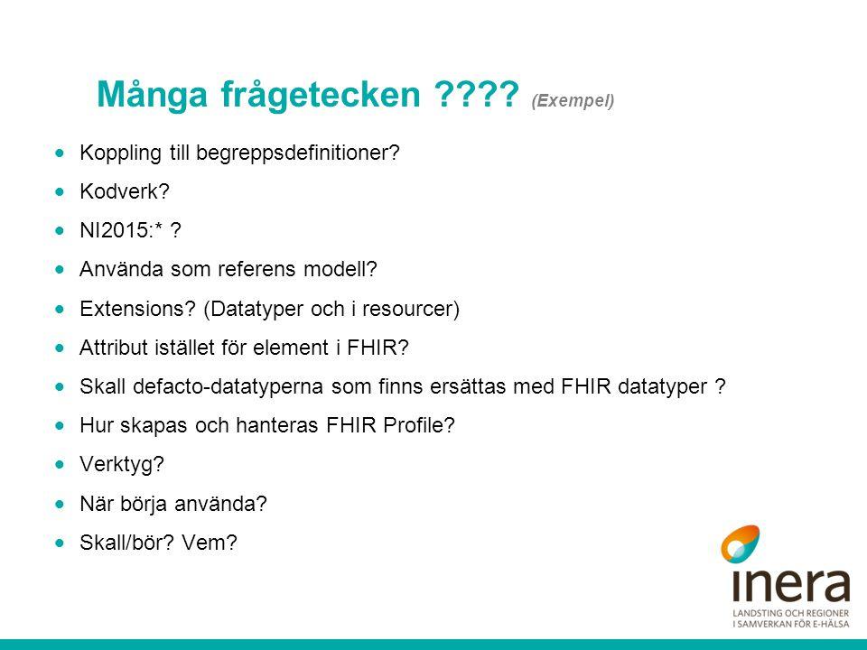 Många frågetecken ???? (Exempel)  Koppling till begreppsdefinitioner?  Kodverk?  NI2015:* ?  Använda som referens modell?  Extensions? (Datatyper
