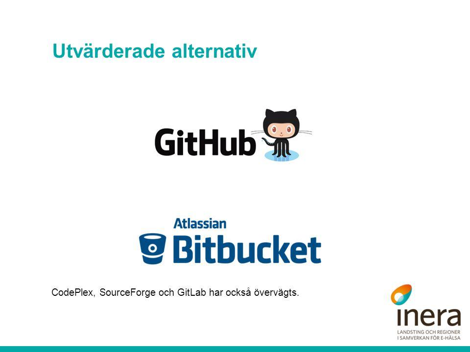 Utvärderade alternativ CodePlex, SourceForge och GitLab har också övervägts.