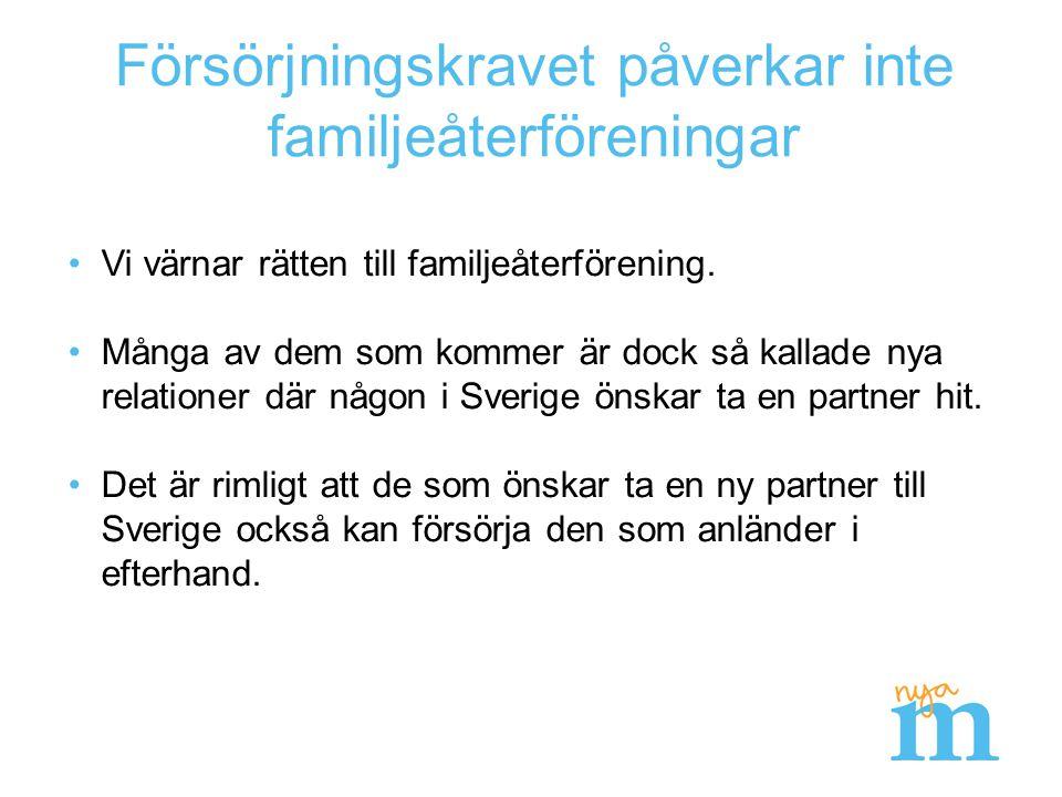 Värna asylrätten – och stärk drivkrafterna till integration Tillfälliga uppehållstillstånd (TUT) om tre år för de som kommer till Sverige på egen hand utanför kvotflyktingsystemet.