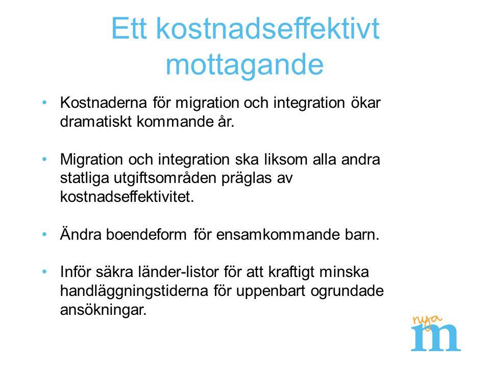 Ett mer kostnadseffektivt asylmottagande Förslag (miljarder kronor)2016201720182019Summa Ny stödboendeform och schabloniserad ersättning för ensamkommande barns boende 0,0-1,2-2,9-3,1-7,2 Staten tar över ansvar för undervisning i svenska och förberedande insatser första sex månader -0,2-0,3-0,2 -0,9 Inför princip om säkra länder och kvantitativt mål för Migrationsverkets handläggningstid 0,0-0,3 -0,9 Summa-0,2-1,8-3,4-3,6-9,0 NB: Uppskattade direkta och indirekta kostnadseffekter.