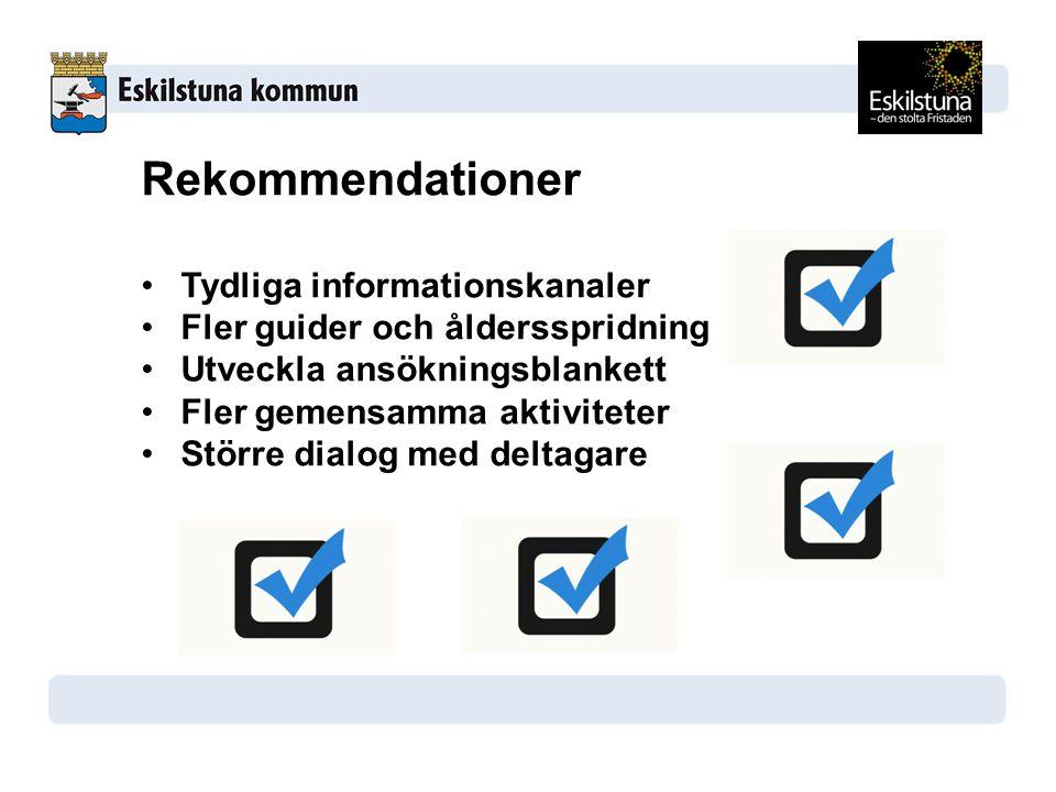 Rekommendationer Tydliga informationskanaler Fler guider och åldersspridning Utveckla ansökningsblankett Fler gemensamma aktiviteter Större dialog med